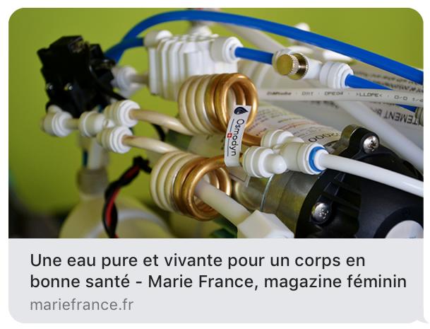 Marie France et l'eau pure Osmodyn pour un corps en bonne santé