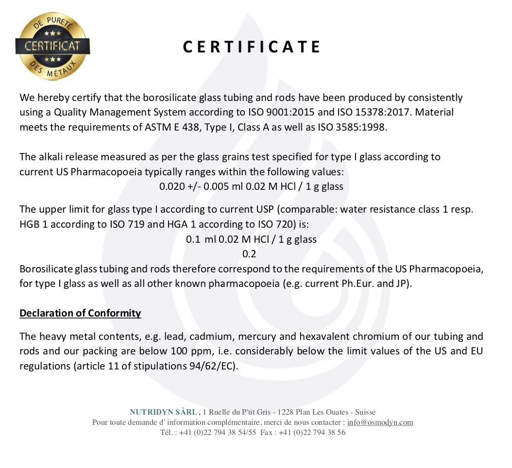 Certificat de pureté vortex verre