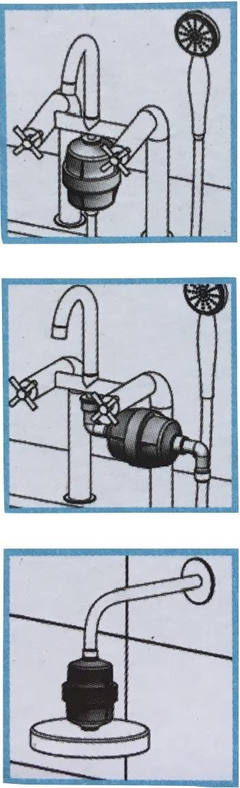 option de raccordement filtre douche-bai
